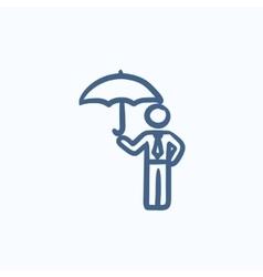 Businessman with umbrella sketch icon vector image