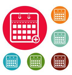 Calendar deadline icons circle set vector
