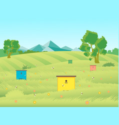 cartoon beekeeping apiary farm garden landscape vector image vector image