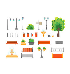 cartoon color urban park elements set vector image vector image