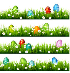 Easter egg on the green grass seasonal holidays vector