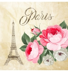 Eiffel tower with spring flowers vector
