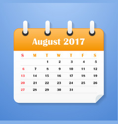 european calendar for august 2017 vector image vector image