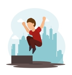 extreme sports parkour design isolated vector image