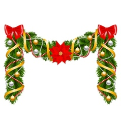 Fir-tree decoration with poinsettia vector image vector image
