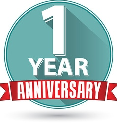 Flat design 1 year anniversary label with red vector