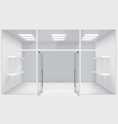 Front store shop 3d realistic space open doors vector