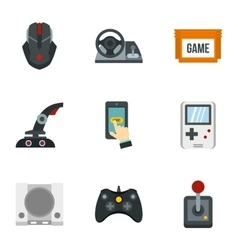 Game console icons set flat style vector