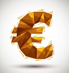 Golden euro sign geometric icon made in 3d modern vector