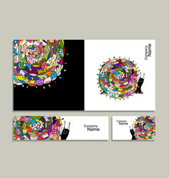 greeting card with art snail design vector image vector image