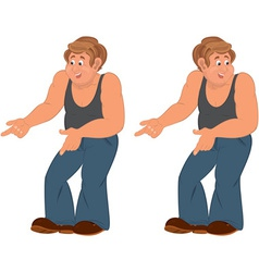 Happy cartoon man standing in sleeveless top and vector