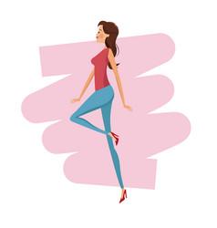 happy woman fashion slim vector image vector image