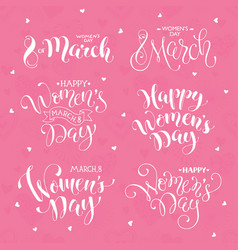 Happy women day phrases vector
