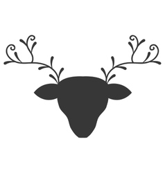 Head reindeer silhouette icon vector