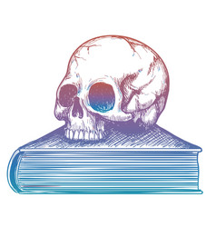 Human skull on book colorful sketch vector