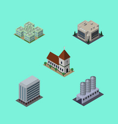 Isometric architecture set of company clinic vector