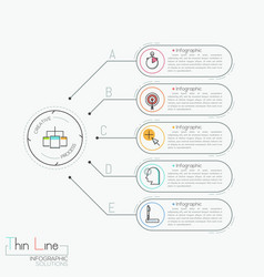 modern infographic design template five text vector image