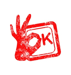 Ok red grunge rubber stamp with the hand sign vector image