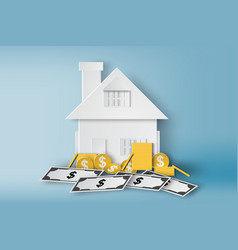 paper art of home with pile of money and real vector image vector image