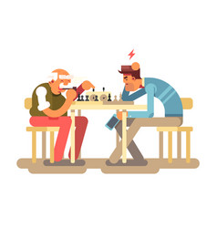 People play chess game vector