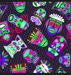 pink and green masks on dark seamless pattern vector image vector image