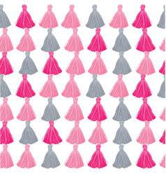 pink and grey decorative tassels rows vector image vector image
