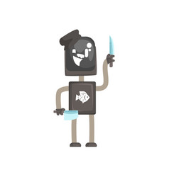 robot worker character android with knives to vector image