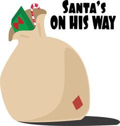 Santas on way vector