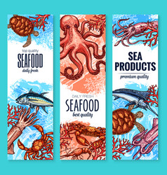 Seafood fish and sea product sketch banner set vector