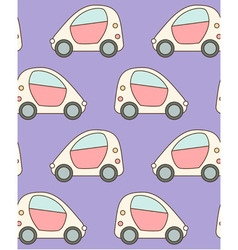 Seamless pattern made of cartoon small city cars vector