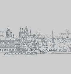 sketch view of old european city by the river vector image vector image