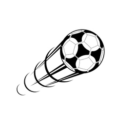 Speeding soccer ball with a motion trail vector image