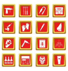Tattoo parlor icons set red vector