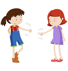 Two girls playing paper scissors rock vector