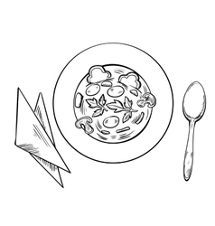 Vegetarian soup with spoon and napkins vector image