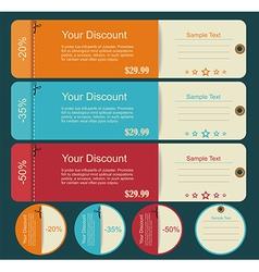 Vintage discounts template set vector image