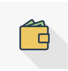 wallet with money cash finance bank and shopping vector image vector image