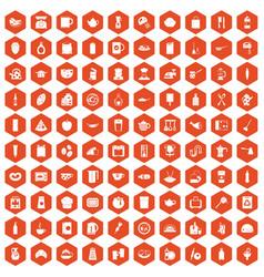 100 kitchen icons hexagon orange vector