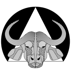 Buffalo head black and white symmetrical drawing vector