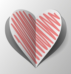 Cutout and folded paper heart with red hatch vector