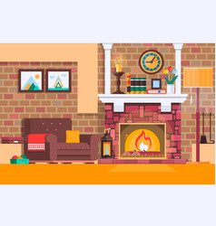 room interior fireplace design with chair books vector image