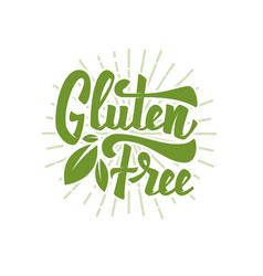 Gluten free hand drawn lettering phrase isolated vector