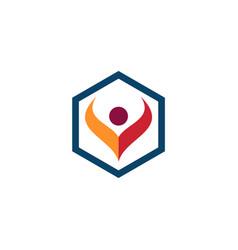 polygon people abstract logo vector image