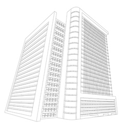 Wireframe shopping mall building vector