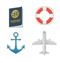 Airplane anchor lifebuoy passport vector