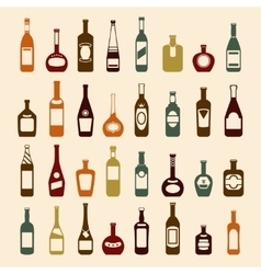 Beer bottles and wine icon set vector image
