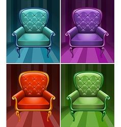 Armchair in four colors vector