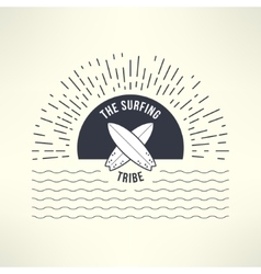 Surfing background with sun and waves t vector