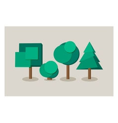 Set of tree icons in flat style vector