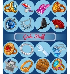 Fshion jewelry and various accessories vector